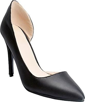 Damen Faschion Faux Leder-hohe Absätze Korsett Art Pumpen Gericht Partei Pumpen Schuhe Black EU35 Kolnoo qtvsD