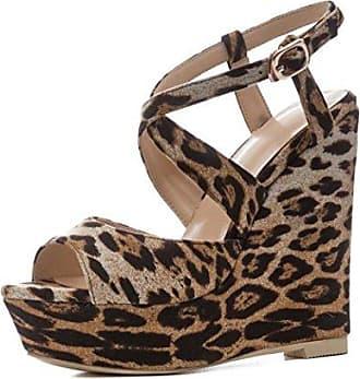 Damen Peep Toe Sandalen Knöchelriemen Platform Wedge Schuhe mit Hohen Absätzen Schwarz Größe 34-41 (Farbe : Schwarz, Größe : 38) MYI