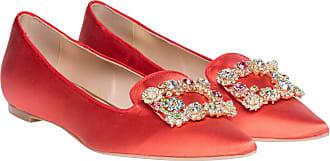 Ballerina aus Leder in Hellrot/Rot für Damen, Größe 40 Ras
