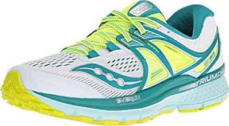 Saucony Triumph Iso 3, Chaussures de Running Femme, Multicolore (Blanc/Bleu Canard/Citron), 39 EU
