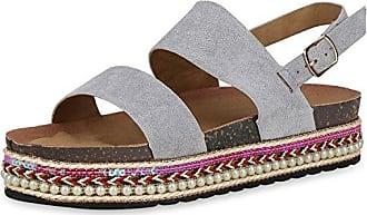 Damen Plateau Sandaletten Ethno Sandalen Zierperlen Sommer Schuhe 166481 Grau 38 Scarpe Vita xW4FWsE