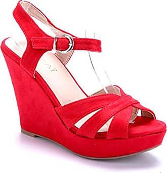 Damen Schuhe Keilsandaletten Sandalen Sandaletten Rot Keilabsatz 11 cm High Heels Schuhtempel24 hpz5IuZ0Uo