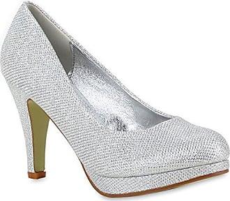 Damen Glitzer Pumps Plateaupumps Stiletto High Heels Velours Peeptoes Leder-Optik Plateau Vorne Party Schuhe 110601 Silber 37 Flandell Stiefelparadies vD92ooPi