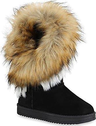 Damen Schlupfstiefel Warm Gefütterte Stiefel Winterschuhe Winter Boots Wildleder-Optik Schuhe 152104 Schwarz Hellbraun 36 Flandell Stiefelparadies XnRfMi