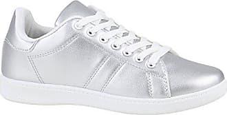 Damen Schuhe Sneakers Metallic Cap Sportschuhe Schnürer Freizeit 155853 Silber Weiss 37 Flandell Stiefelparadies YxLBMqZz