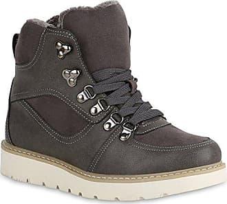 Damen Stiefeletten Gefütterte Outdoor Boots Profil Sohle Wedges 151953 Grau 37 Flandell Stiefelparadies ju68hLsAUL
