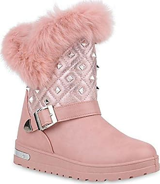 Damen Schuhe Stiefeletten Warm Gefütterte Stiefel Schlupfstiefel Boots 153508 Rosa Nieten 41 Flandell Stiefelparadies lxFR1S8C