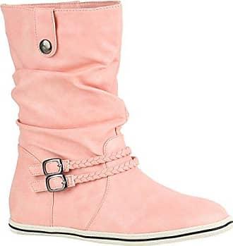 Damen Stiefeletten Bequeme Schlupfstiefel Flache Übergangs-Schuhe 151774 Rosa Schnallen 38 Flandell Stiefelparadies c2b4cOURG