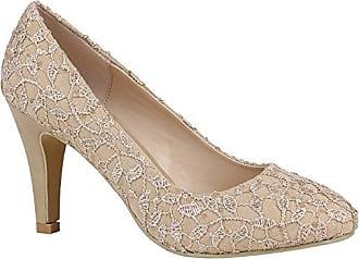 Klassische Damen Pumps Stiletto Absatz Abend Schuhe Leder-Optik 157194 Creme Stickereien 36 Flandell Stiefelparadies AnyWrNYi