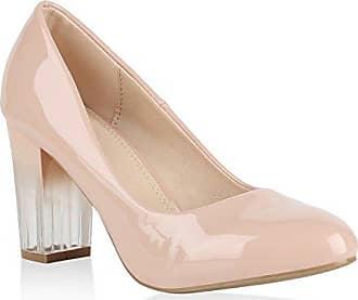 Klassische Damen Schuhe Pumps Transparente Blockabsatz High Heels Lack 150757 Rosa Berkley 38 Flandell Stiefelparadies IaweLWKa