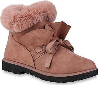 Klassische Damen Schuhe Stiefeletten Kunstfell Boots Wildleder-Optik 152767 Rosa Avion 36 Flandell Stiefelparadies SbvQEowwq