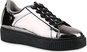 Plateau Sneakers Damen Sneaker Low Glitzer Sport Strass Lack Animal Print Camouflage Schuhe 140240 Grau Schwarz 38 Flandell Stiefelparadies O3kwrbj