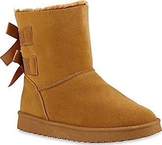 Warm Gefütterte Damen Stiefeletten Schlupfstiefel Boots Schleifen Schuhe 130232 Schleife Hellbraun 38 Flandell Stiefelparadies 60nEKfwd