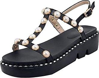 Damen Flache Plateau Sandalen T Strap Sandaletten mit Perlen Flach Frezeit Schuhe UH u6YB1upm