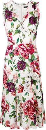 Mi À Dolce Gabbana Blanc amp; Fleurs Robe longue Évasée FHCznpqwC