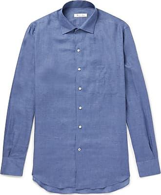 Linen Blue Loro Shirt Andre Slub Piana 4tftxwqC7