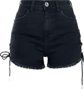 Urban ShortHotpant Ladies Up Classics Denim Highwaist Lace Schwarz qSUVMpzG
