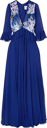 Soie Du En À Herrera Bleu Royal Sequins Georgette Carolina Robe Soir De np40Enwqx