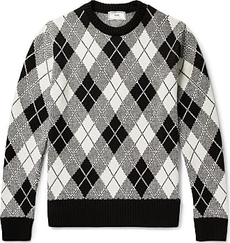 Jacquard Sweater Ami Argyle Gray Knit qwxS0