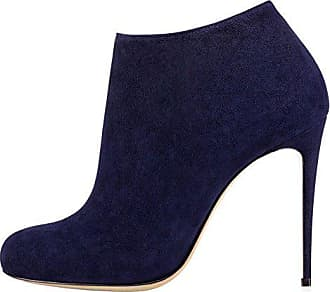 Merumote Surze Kurz Klassische 40 Damen Dünne Stiefel Schuhe Sexy Fersen Stiefeletten Eu Runder Blau r1rgqxB8w