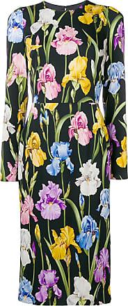 À Dolce Gabbana Noir longue Fleurs Mi Robe amp; wwgZHxqXv