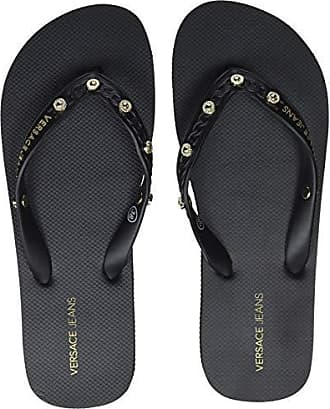 Versace Para nero Negro Jeans Couture Eu Shoes 899 Chanclas Mujer 36 rrqHI