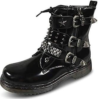 Stiefel 37 Biker Eu Worker St814 Nieten Stiefeletten Schnallen Gothic Punk Schuhtraum Boots Damen Schwarz zXqUP