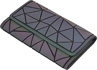 Clutch Bag Leder onesize Addora Rautenmuster b Geometrische Dreifach Geldbörse Frauen Nähen Pu Brieftasche Nachtleuchtende HPRvU