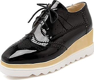 Wedge Brogue Hollowed out Shoes Lace up Fashion Gear Platform Womens Heel Casual Kaloosh Toe Sole Square 7gYyvfb6