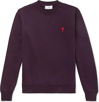 Logo SweatshirtBurgundy embroidered Loopback Ami Cotton jersey Yb6gI7yvmf