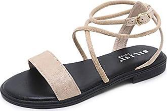 Schuhe Toe Hellbraun Mit Eu 34 Flachem Sandalen Strap Cross Absatz Xzgc 0RBqB