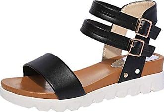 Jamicy Schwarz Einfache Leder Sandalen 38 Damen eu Flache Schuhe Frauen rPrwFpq