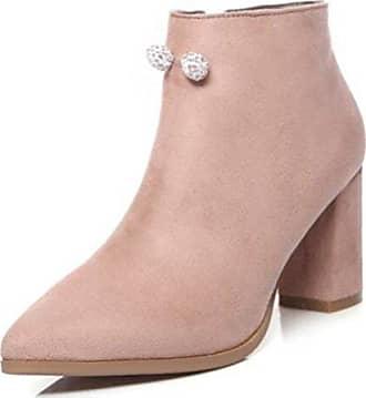 Toe Absatz Kurzschaft Damen Stiefel Pink Mit Nubuk Easemax Top Pointed High Modisch 34 Eu SRqvBwt