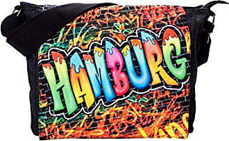 Graffiti In Hamburg maße Cm bunt Canvas Ruth 34x28x13 Lxhxt Schwarz Umhängetasche Robin wqI1x7tZfX
