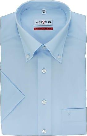 Marvelis Einfarbig Comfort Fit Hemd Kurzarm Bleu nzwUYxFz7q