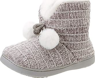 Eu Chenille Gry Isotoner Chaussons 37 grey Boot Bas Poms Femme Slippers vqwdZ6