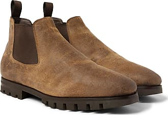 Brown Santoni Shearling Boots Oiled Chelsea lined suede 6Fwfq7O