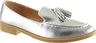 Mokassin 2 Xh1011 Schuhe Blockabsatz Damen Slip T 40 Genarbtem on Angkorly Cm Fransen Silber q8ETnPnw