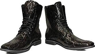 Modello Hohe Schnüren Handgemachtes Italienisch Herren Leder Schwarz Stiefel Peppeshoes Ziegenleder Geprägtes Sinoho43 E29WDIeYH