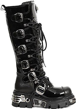 New Rock s6 Leder Stiefel 314 Unisex Damen Hohe Gotisch Plattform Herren Schwarz M Punk Heavy qHtdwrq