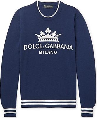 Navy Logo amp  Dolce Gabbana intarsia Cashmere Sweater xBwnOHFq1 0c4c043b05de