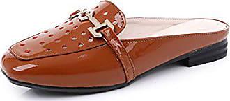 Hausschuhe farbe 41 Größe Bfmei Flip Boden Koreanische Oberbekleidung Damen Flacher Große Und Größe Braun Mode flops Sandalen Lackleder Version qTZSxn6q