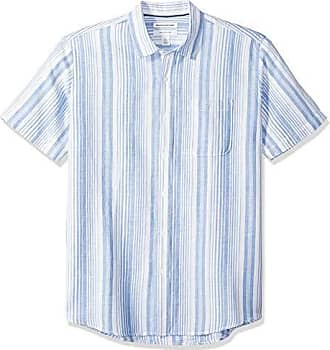 fit Short Shirt sleeve Essentials Stripe Amazon Regular Buttondown Linen hemd Blue Etnw1qqgW