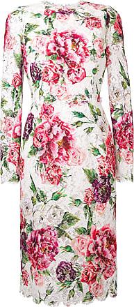 En Blanc Robe longue À Mi Gabbana Fleurs Dolce amp; Dentelle 4xRzXZ7