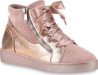 Rosa 40 Damen Zipper wedges Stiefelparadies Sneakers Sneaker Schuhe Flandell Satinoptik Freizeit 145911 vmnwN80