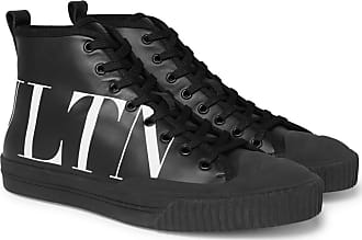 Garavani High print Leather Sneakers top Logo Black Valentino 8xqwfIdd