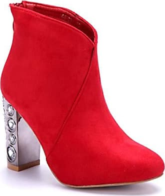 6458b0fdb09b08 Schuhtempel24 Rot High Heels Stiefel Schuhe Ziersteine Blockabsatz Damen 10  Boots Klassische Stiefeletten Cm rnwqRrpCa