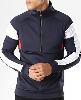 Aarhon Blanc Tricolore 094 Sweat Rouge Demi Zippé Marine Bleu F0qFrwC