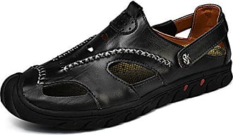 Schuhe Herren Atmungsaktiv CasualSchwarz43 Sandalen Qxh Runden Leder Kopf nwm8v0NO