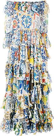 Imprimé Robe Dolce Gabbana amp; Bleu Volantée À Majolica Longue qzPSPwA